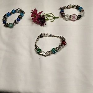 Lot of 3 Glass beaded Bracelets